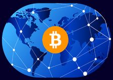 Global Abstract Bitcoin Crypto Currency Technology World Map Royalty Free Stock Photo