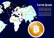 Global Abstract Bitcoin Crypto Currency Technology World Map Stock Image