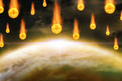Global accident - collision of an asteroid with the Earth Stock Photo
