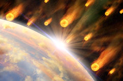 Global accident - collision of an asteroid with the Earth Royalty Free Stock Photography