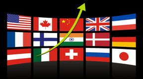 Global Achievement Chart. LCD TV with Global Achievement Chart (Business Concept vector illustration