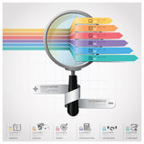 Global affär och finansiella Infographic med förstoringsglaset Arkivbild