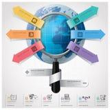 Global affär och finansiella Infographic med förstoringsglaset Royaltyfri Bild
