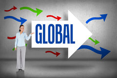 Global against arrows pointing Royalty Free Stock Image