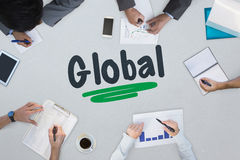 Global against business meeting Royalty Free Stock Photos
