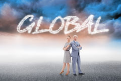 Global against cloudy landscape background Stock Photography