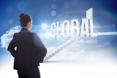 Global against steps leading to closed door in the sky Royalty Free Stock Photography