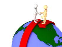 Global agreement. Three dimensional render of a cartoon human figures, of different colors, shaking hands while standing on two arrows coming from opposite sides Vector Illustration