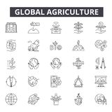 Global agriculture line icons for web and mobile design. Editable stroke signs. Global agriculture outline concept stock illustration