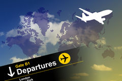 Global air travel. Image of an aeroplane against an image of the world Royalty Free Stock Images