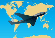Global Air Travel. Illustration of an airliner against a map of the world to show global air travel stock illustration