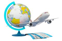 Global Air Travel concept. Airplane with tickets and geographical globe, 3D rendering royalty free stock photo