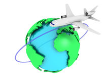 Global Airlines. 3D image of plane with globe on white background Royalty Free Stock Photos