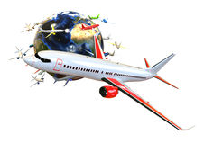 Global Airplane transport concept Stock Photo
