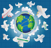 Global airplane travel Royalty Free Stock Photography