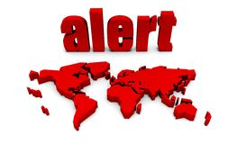 Global Alert. With Red Text and International Map Stock Photo