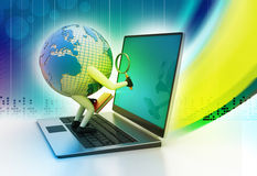 Global analysing. In color background Royalty Free Stock Photography