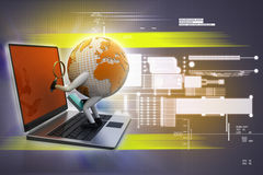Global analysing. In color background Royalty Free Stock Photo