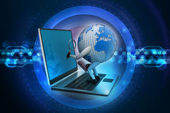 Global analysing. In color background Stock Photography