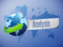Global analysis sign illustration design. Over a world map background Royalty Free Stock Photos