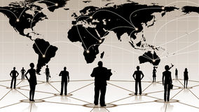 Global anslutning av det sociala affärsnätverket för folk Arkivbilder
