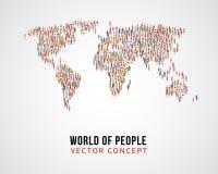 Global anslutning för folk, jordbefolkning på världskartavektorbegrepp vektor illustrationer