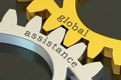 Global assistance concept on the gearwheels, 3D rendering. Global assistance concept on the gearwheels, 3D Royalty Free Stock Photos