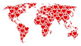 Global Atlas Collage of Hearts Suit Icons. Continent map mosaic constructed of hearts suit icons. Vector hearts suit items are united into geometric Stock Photos