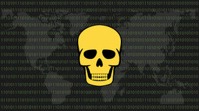 Global attack ransomware skull with binary code background and world map Stock Photo