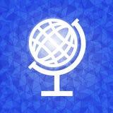 Global auf blauem geblendetem Dreieckhintergrund Stockbild