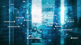 Free Global Aviation Abstract Background With Planes And City Names On A Map. Business Travel Transportation Concept. Stock Image - 153182541