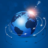 Global Aviation Background. Aviation background airplanes flying over the planet Royalty Free Stock Photos