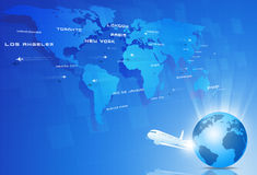 Global Aviation. Aviation background with many planes over the map with major cities names Royalty Free Stock Photos