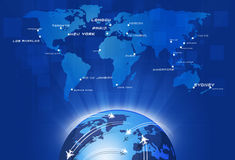 Global Aviation. Aviation background with planes over the map with major city names Stock Photography
