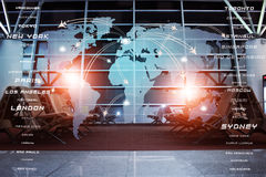 Global Aviation Business Background. Global aviation destinations concept illustration on blurred airport terminal mixed media Stock Image