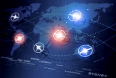 Global Aviation Directions. Abstract concept global aviation directions blue business background Stock Photo