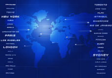 Global Aviation. World aviation directions all over the business cities Stock Photo