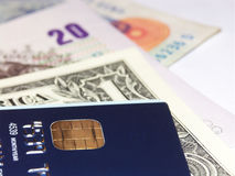 Global banking. Global currencies and smart card Stock Photography