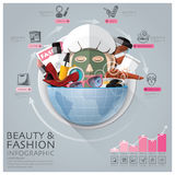 Global Beauty And Fashion Infographic With Round Circle Vegetabl Royalty Free Stock Images