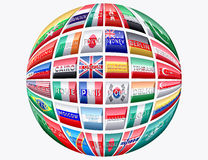 Global Big Cities. Illustration of big cities worldwide with national colors Stock Photo