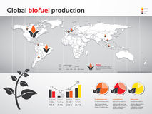 Global biofuel production charts. Charts and graphics of global biofuel production Royalty Free Stock Photos