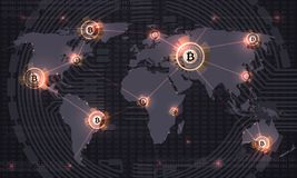 Global bitcoin. Crypto currency blockchain technology and world map. Crypto currency trade vector abstract background. Finance internet payment, bitcoin vector illustration