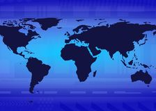 Global Blue Glow. Map of world with blue Royalty Free Stock Photography