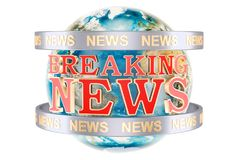Global Breaking News with Earth Globe concept, 3D rendering. Isolated on white background Royalty Free Stock Photography