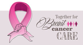 Global Breast cancer awareness concept illustratio. Global collaboration breast cancer awareness concept illustration. Human hands shake creating ribbon symbol Royalty Free Stock Photo
