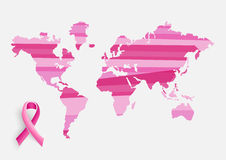 Global Breast cancer awareness concept illustratio Stock Images