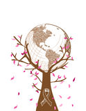 Global Breast cancer awareness concept tree illust. Global collaboration breast cancer awareness concept tree illustration with leaves and ribbon symbol. EPS10 Stock Photos