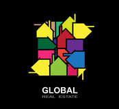 Global Building and real estate city illustration. Abstract background. Building and real estate city illustration. Abstract background for business presentation Stock Images