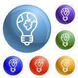Global bulb icons set vector royalty free illustration