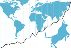 Global bull market chart stocks world growth graph Royalty Free Stock Photography